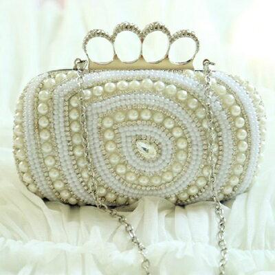 珍珠晚宴包 鏈條包~精美鑲鑽戒指 女手拿包 71as35~ ~~米蘭 ~