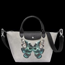 LONGCHAMP 1512 LE PLIAGE COLLECTION 女士女包蝴蝶抽帶手提包單肩包灰色