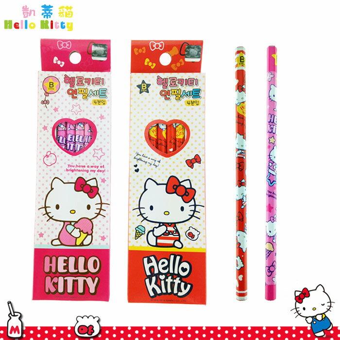 大田倉 韓國進口正版 三麗鷗 Hello Kitty 凱蒂貓 B鉛筆 4入 鉛筆組 文具用品  隨機出貨