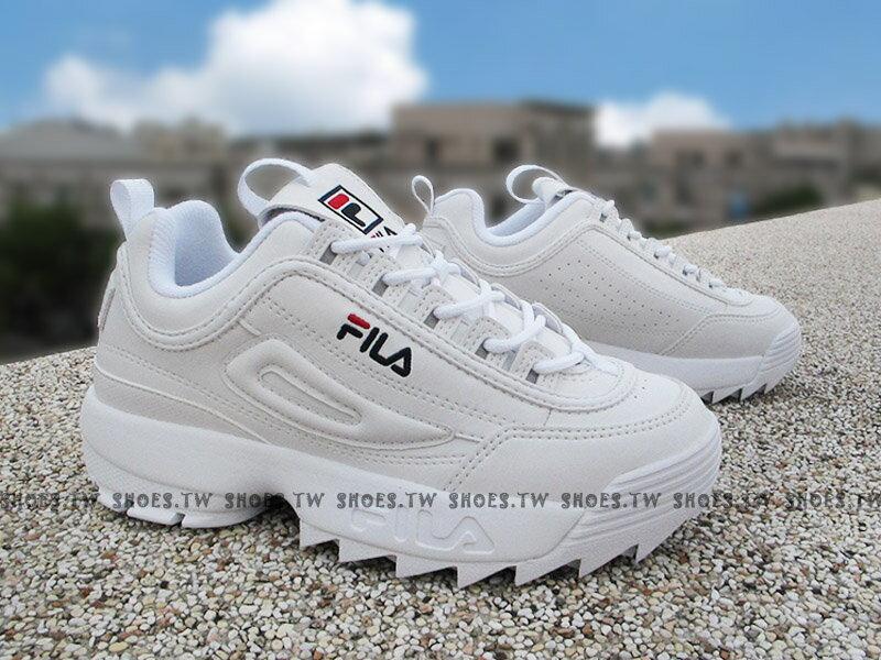 《限量商品》Shoestw【4C113T125】FILA DISRUPTOR 2 復古運動鞋 老爹鞋 鋸齒鞋 厚底增高 皮革 全白 女生 FS1HTA1071X 0