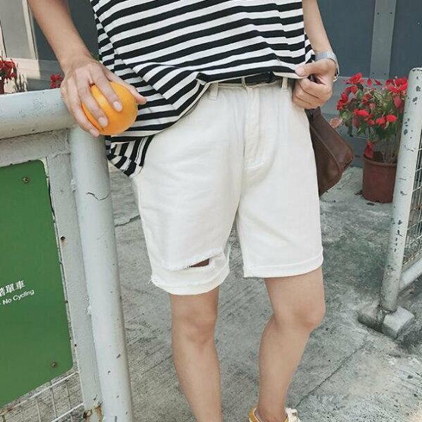 FINDSENSE MD 韓國 潮 男 時尚 夏裝 百搭 黑白 破洞 牛仔短褲 休閒短褲