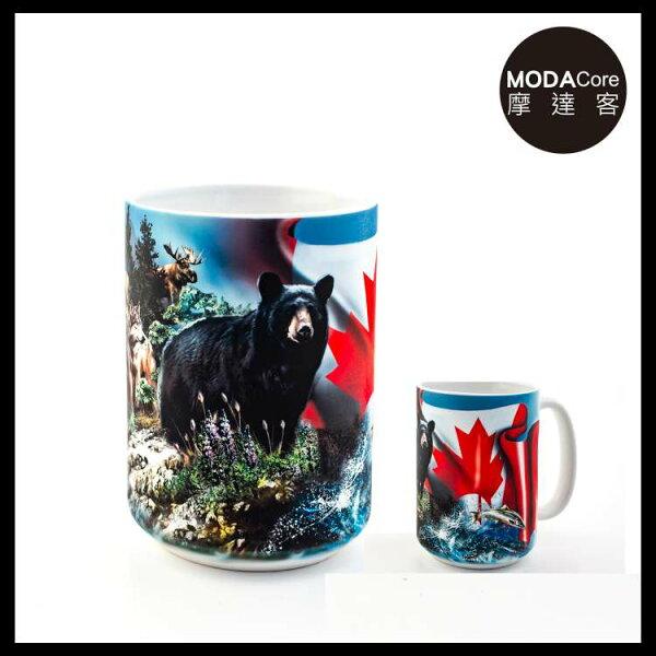 【摩達客】(預購)美國TheMountain加拿大動物群圖案設計藝術馬克杯440ml