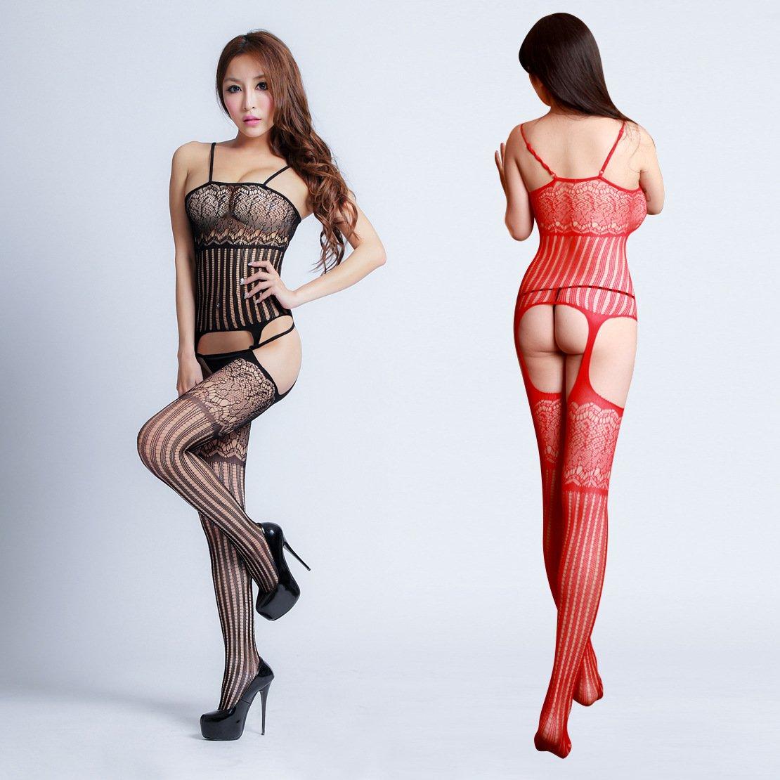 W7029 歐美最新提花網衣情趣內衣 吊帶開檔免脫連身絲襪貓裝 紅色特價現貨