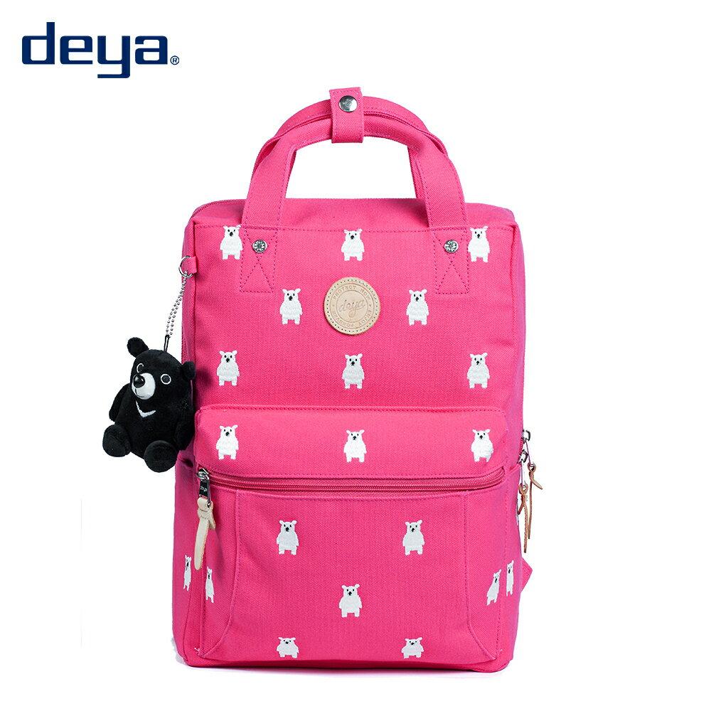 後背包 / deya 【deya熊森林系後背包(小)】桃紅 環保材質 台灣製造 附deya熊玩偶