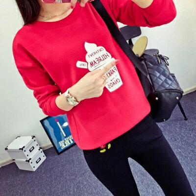 針織上衣長袖T恤 ~簡約字母冰淇淋印花女裝2色73hn54~ ~~米蘭 ~