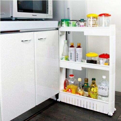 《收納家》12.5cm三層式高低收納隙縫櫃 (附滑輪)-白色