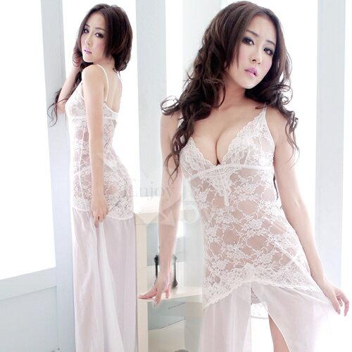情趣用品嬌柔凝視!前高開襟二件式性感長睡裙