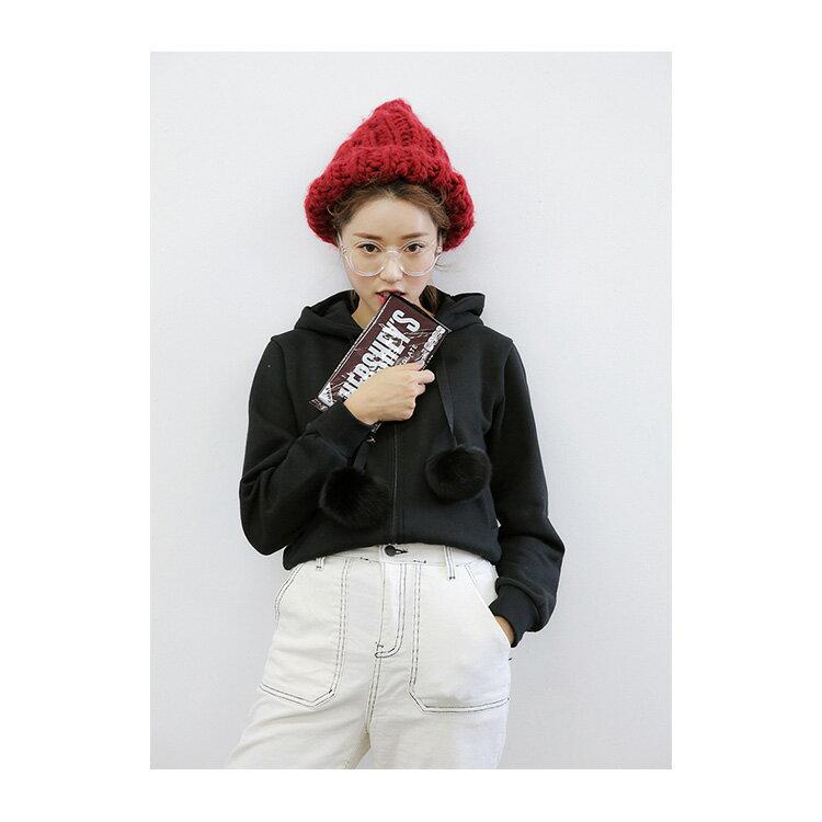 毛帽 素色粗毛線邊織簡約針織帽【QI1913】 BOBI  11/03 2