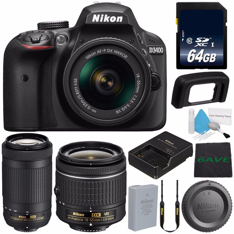 Nikon D3400 DSLR Camera with AF-P 18-55mm VR Lens (Black) 1571 International Model + Nikon AF-P DX NIKKOR 70-300mm f/4.5-6.3G ED Lens + 64GB SDXC Class 10 Memory Card + MicroFiber Cloth Bundle 0