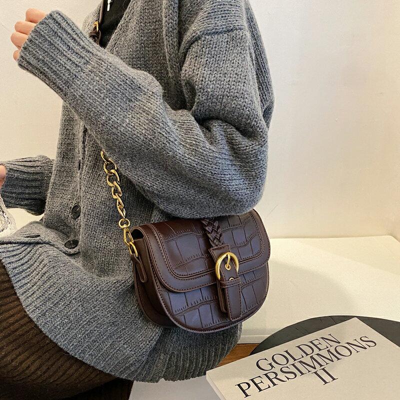 北包包質感小包包女2021秋冬新款潮時尚復古單肩斜挎包網紅馬鞍包