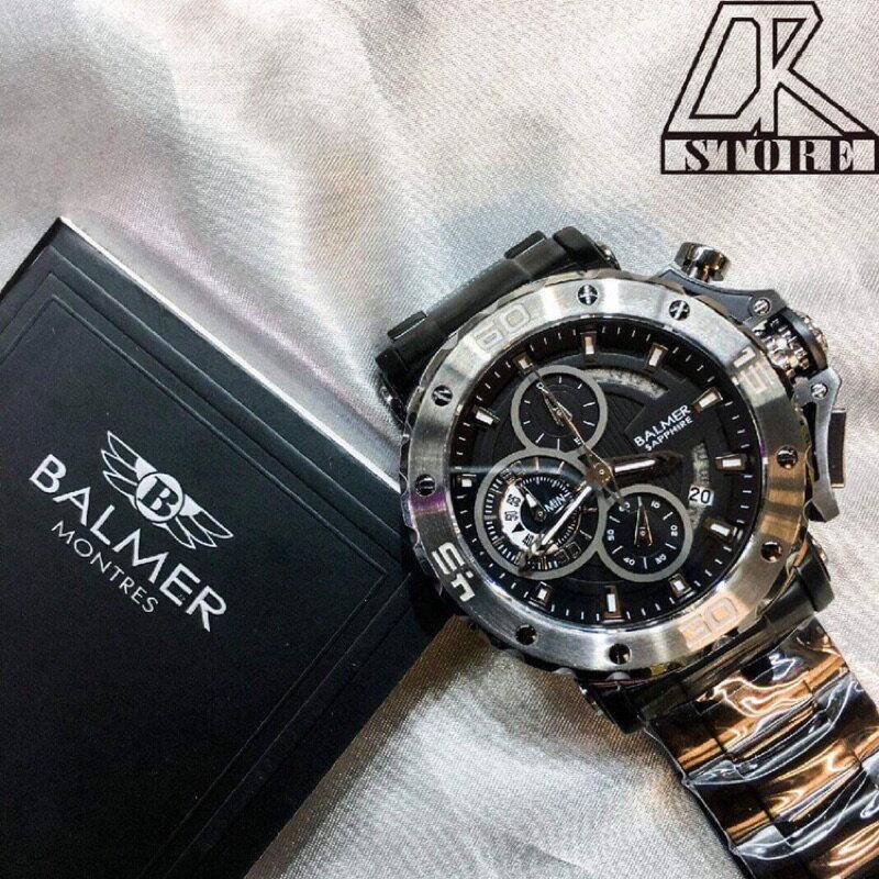 -DTK-官方授權經銷🎖實體店面 BALMER 賓馬王 賓馬7975 鋼錶帶 三眼錶 男錶 石英錶 藍金 黑金 黑 5