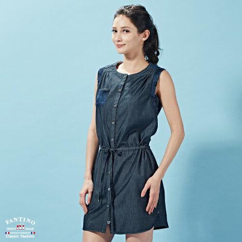 【FANTINO】女裝 微彈性無袖緹花綁帶牛仔洋裝 672301 2