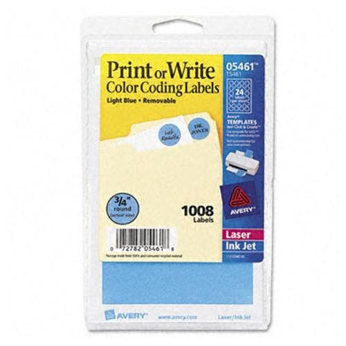 "Print or Write Removable Color-Coding Labels, Light Blue, 1.25"" dia (Set of 2) 0"