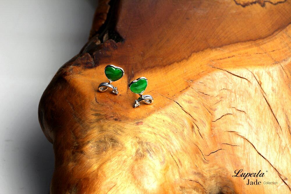 大東山珠寶 珍愛之星 天然緬甸老坑玻璃種A貨翡翠 頂級真鑽18K白金耳環 3