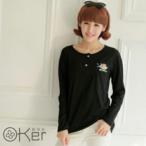 韓版秋裝新款百搭口袋長袖上衣O-KerKK3756