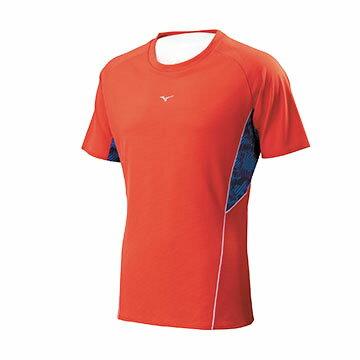 J2TA700456(深橘紅X深藍)吸汗快乾、白晶碳抗菌消臭 男路跑短T恤【美津濃MIZUNO】