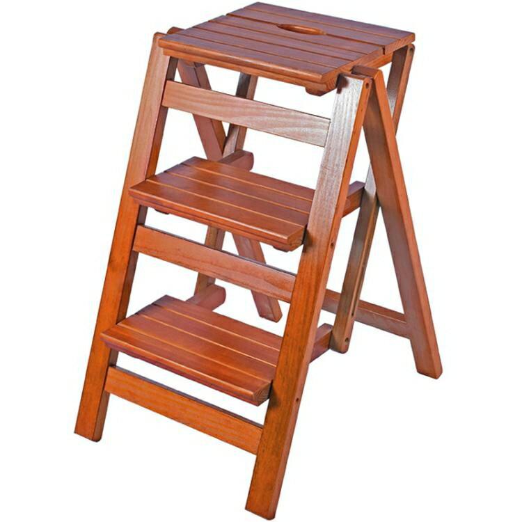 實木家用多功能摺疊梯子三步梯椅梯凳室內登高梯木梯子置物架 nms