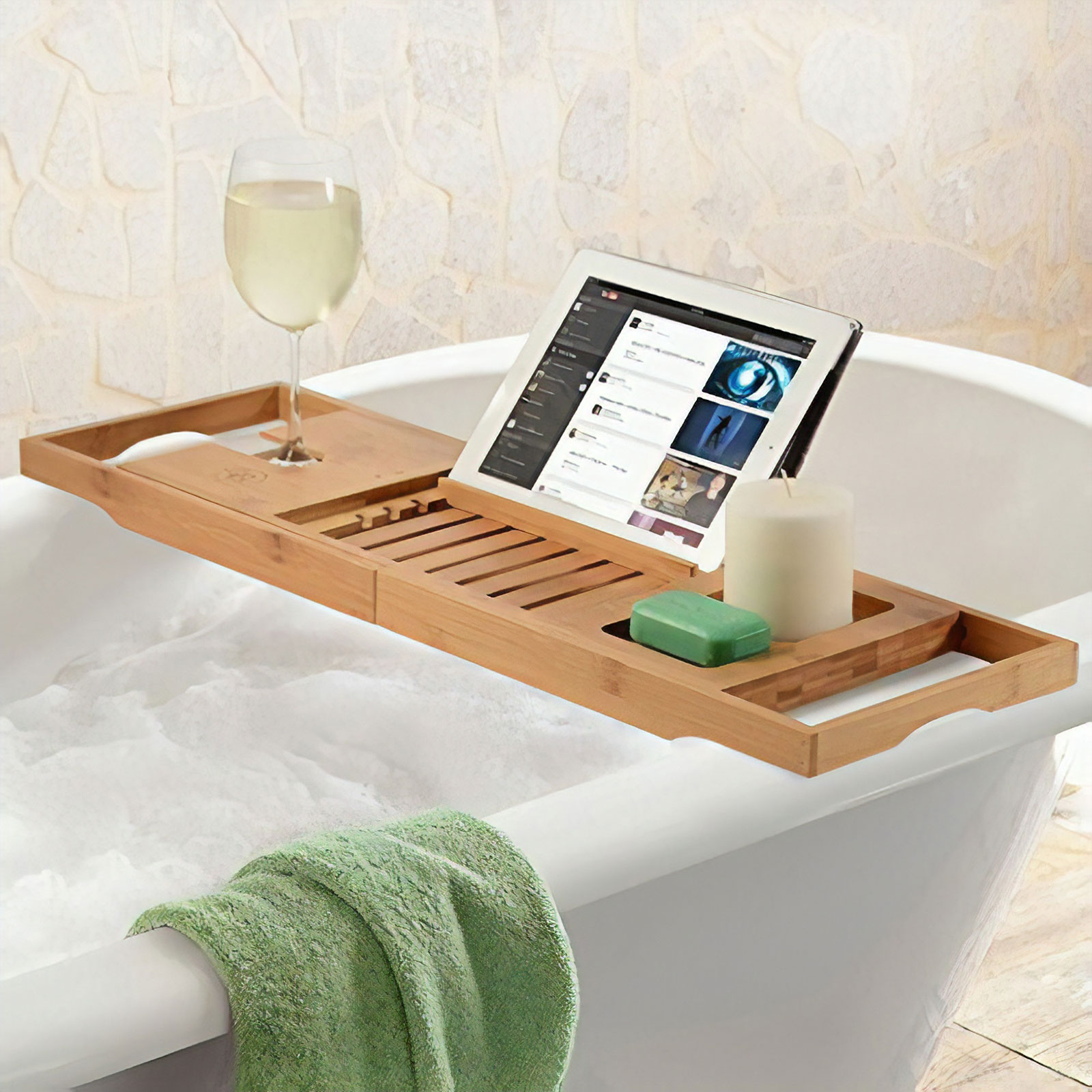 Merveilleux Bambusi Bamboo Bathtub Caddy Tray W Extending Sides, Reading Rack, Tablet  Holder, Cellphone