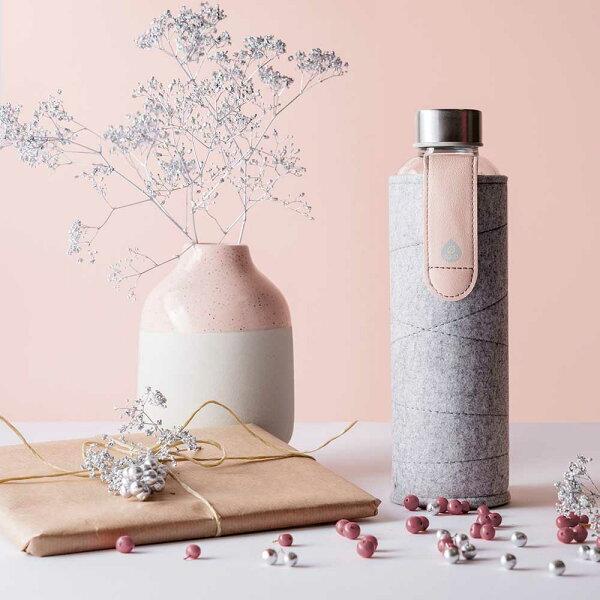 《EQUA》耐熱氈套玻璃瓶750ml皮革粉色