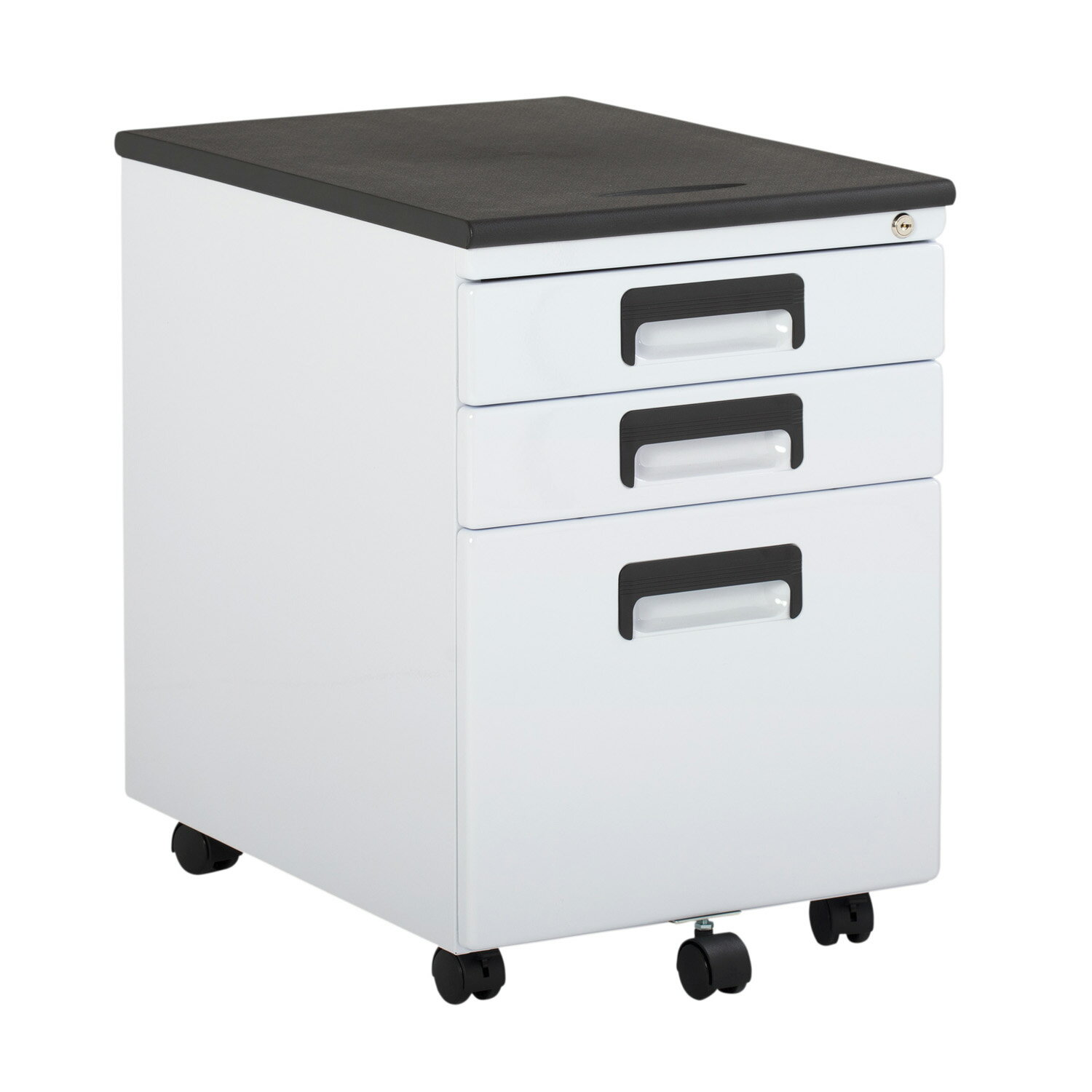 Offex 3 Drawer Metal Rolling File Cabinet With Locking Drawers White Black 0