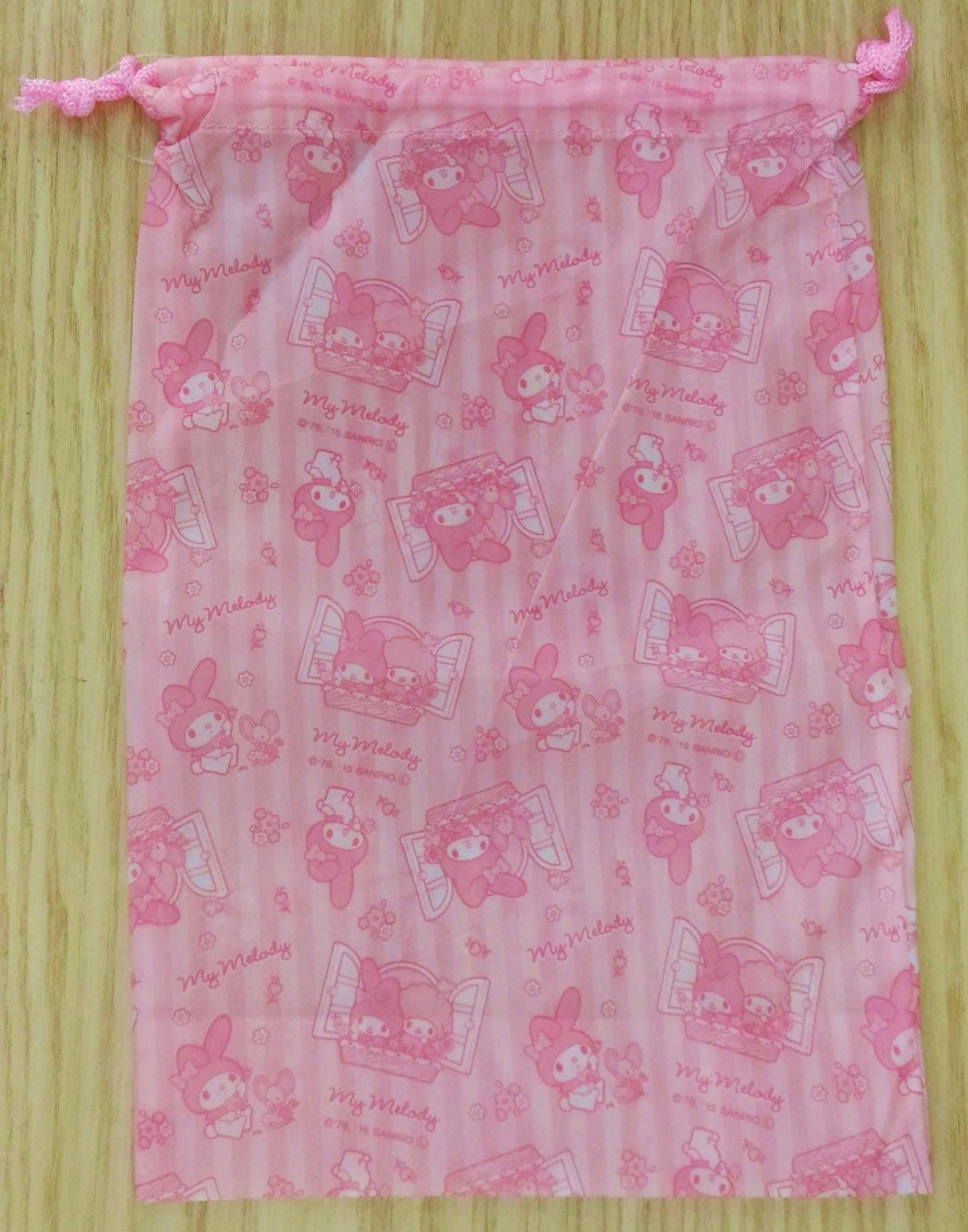 【真愛日本】17111700052 尼龍束口袋-美樂蒂開窗粉 三麗鷗 melody 美樂蒂 收納包 化妝包
