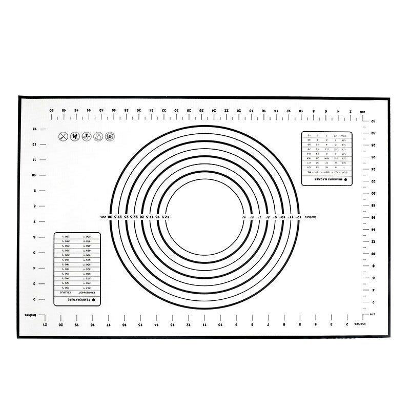 60*40cm大號不粘玻纖硅膠揉麪墊 帶刻度烘焙工具耐溫硅膠和麪墊