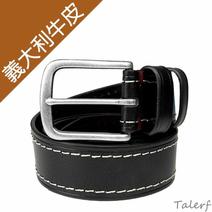 男頂級單層壓車線休閒真皮皮帶(黑色)→現貨