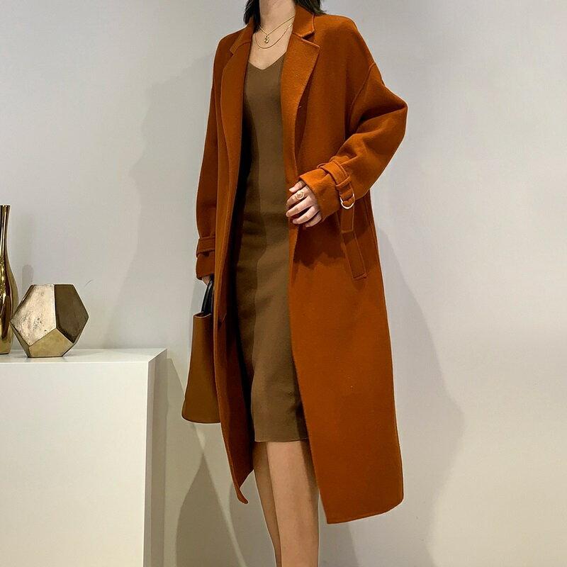 毛呢大衣羊毛外套-長版寬鬆翻領純色女外套4色73wb5【獨家進口】【米蘭精品】 1