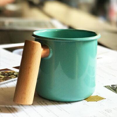 ├登山樂┤臺灣Truvii木頭琺瑯杯(湖水藍)(把手與銅環樣式隨機出貨)400ml