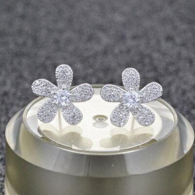 925純銀耳環鑲鑽耳飾~甜美氣質花朵 生日情人節 女飾品2色73hz103~ ~~米蘭 ~
