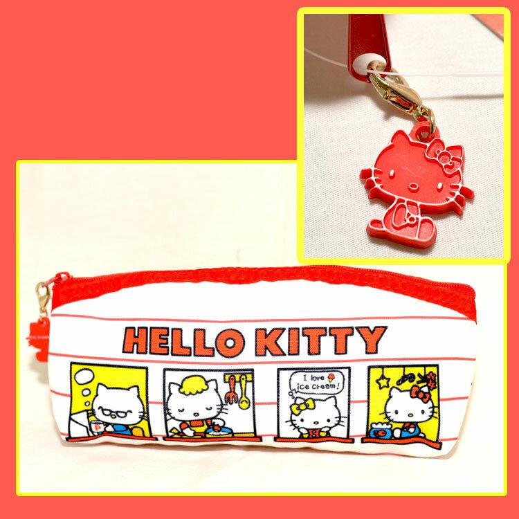 Hello Kitty 歡迎來我們家 帆布 筆袋 化妝包 包包 收納包 日本正版商品 0