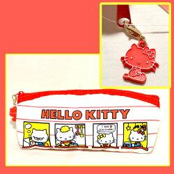 Hello Kitty 歡迎來我們家 帆布 筆袋 化妝包 包包 收納包 日本正版商品