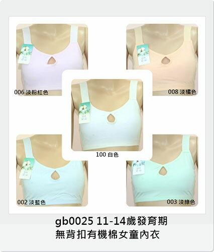6件組 103  件  11~14歲發育期背心款無背扣有機棉素色 女童內衣 下胸圍 65