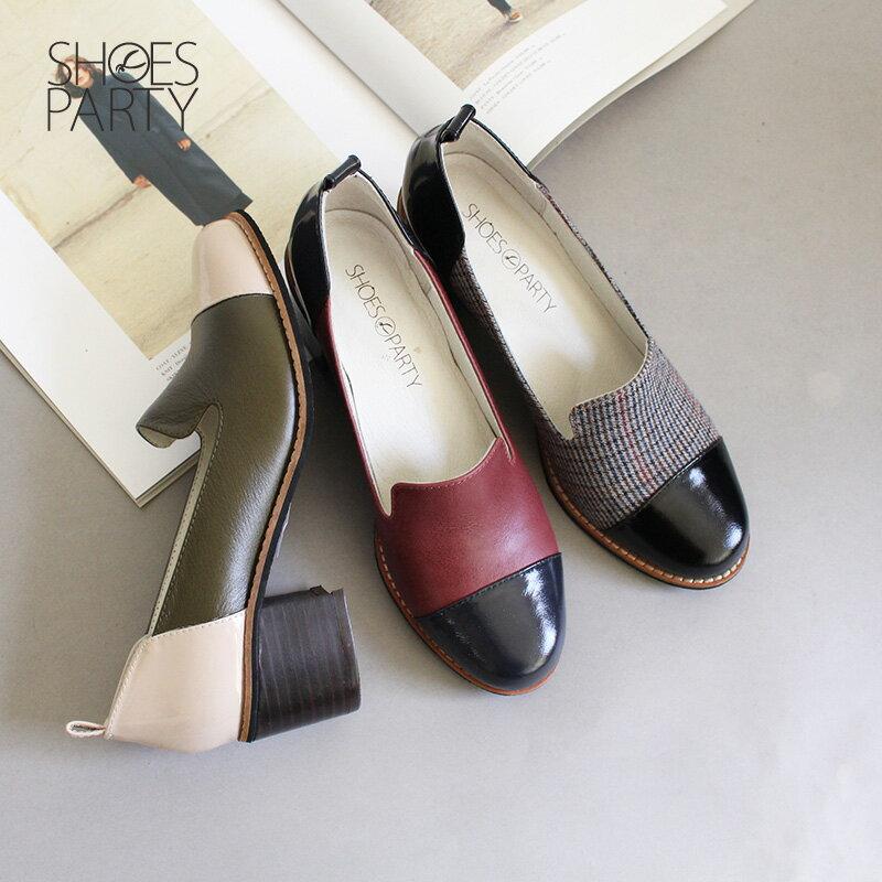 【P2-18810L】安定感拼接粗跟歐貝拉_Shoes Party 0