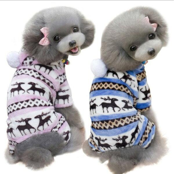 糖衣子輕鬆購【DZ0400】麋鹿印花寵物衣服保暖款小型犬中型犬貓咪衣服狗狗衣服