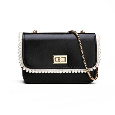 肩背包手拿鍊條包-方型珍珠典雅斜背女包包4色73fc336【獨家進口】【米蘭精品】