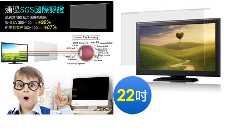 【尋寶趣】aibo 22吋抗藍光液晶螢幕護目鏡 高透光 護目片 抗UV 抗強光 SGS認證 FG-JN22PLB 4