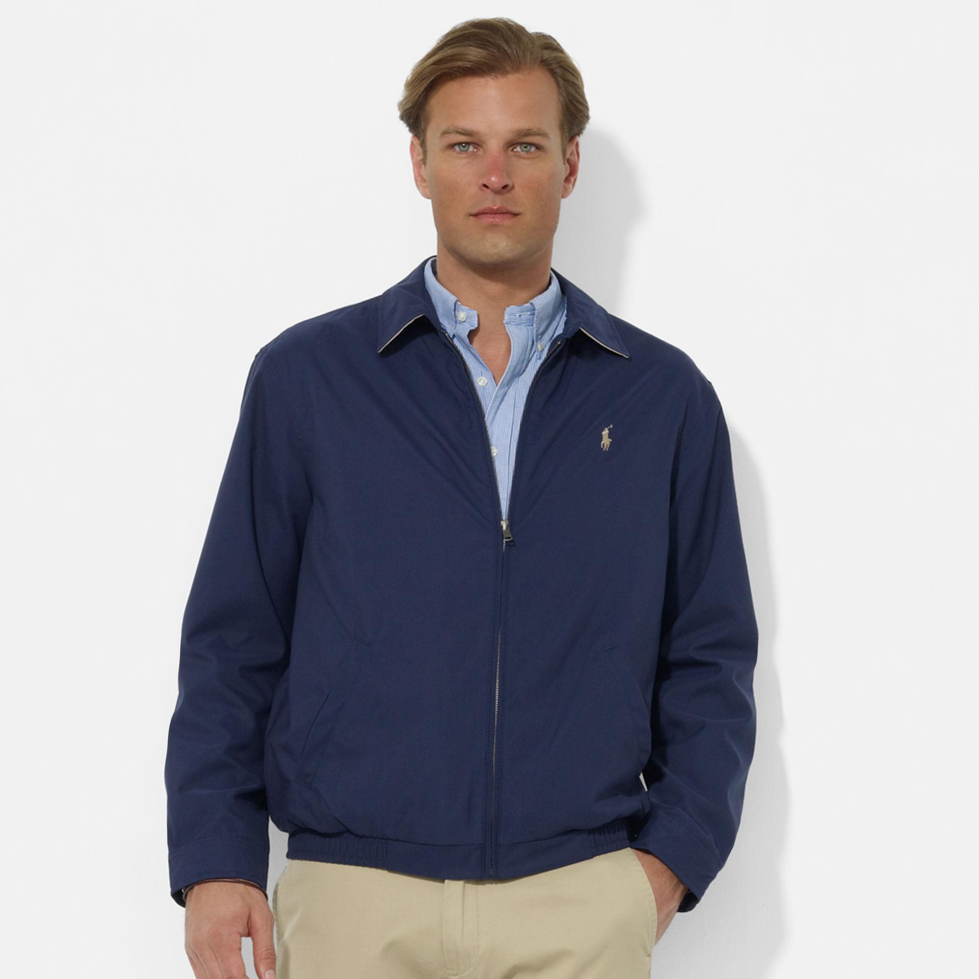 美國百分百【全新真品】Ralph Lauren RL 男 金馬 立領夾克 風衣外套 L號 內格紋款 藍色 B035