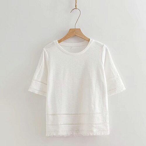 *ORead*日系文藝鏤空下擺流蘇圓領純棉T恤(2色S~L) 0