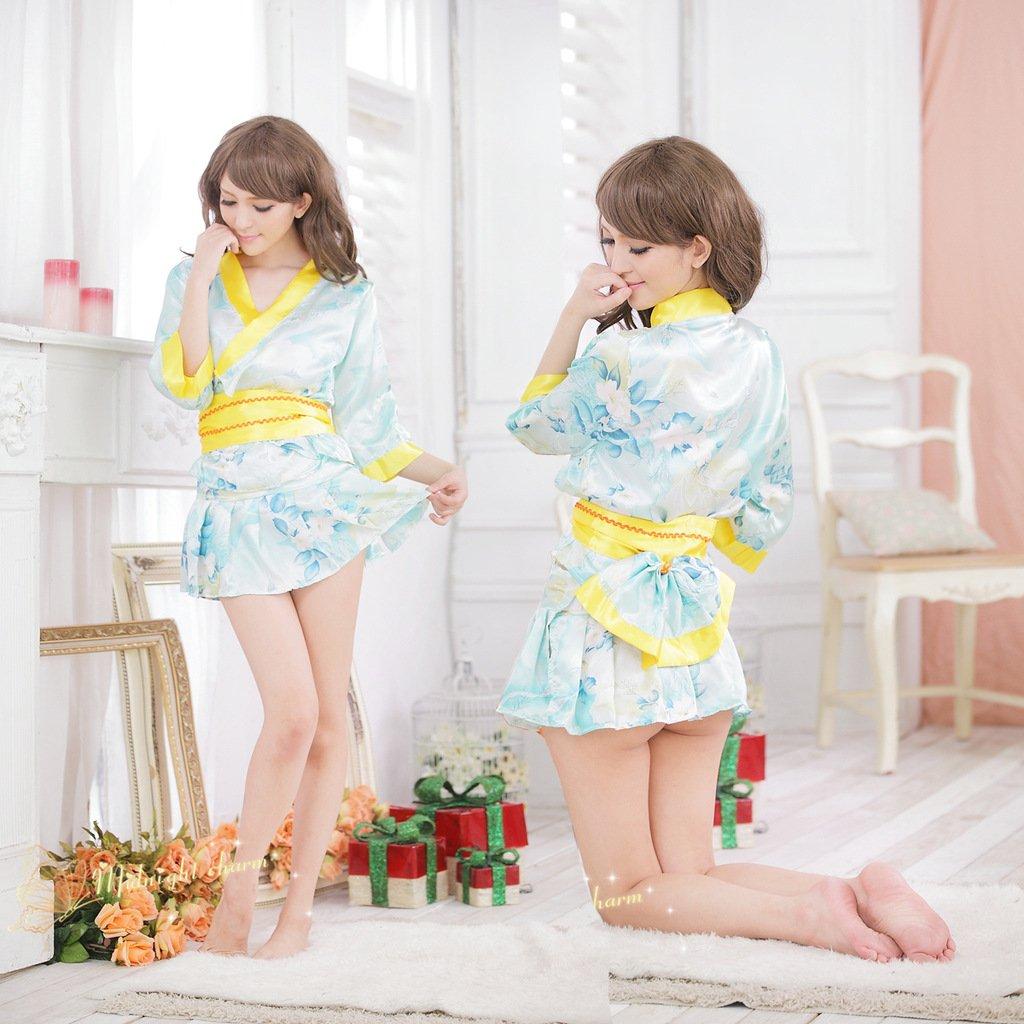 新款淺藍色質感日式和服短裙遊戲制服角色扮演服飾 1004