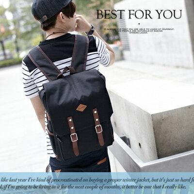 ∥柒零年代∥S/S OutDoor【N7858J】韓系型男春出遊穿搭皮標裝飾皮革扣帶帆布後背包(LJ9070)