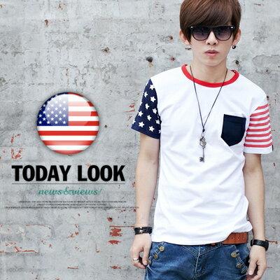 ∥柒零年代∥Man Season【N7976J】韓系街頭直擊不對稱設計美國國旗接袖造型短袖上衣(GS2009)