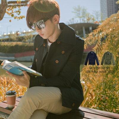 ∥柒零年代∥外套‧柒零年代 Fall【N8148J】韓系首爾冬色Skinny窄版剪裁騎士風雙排扣外套(Gar9187)