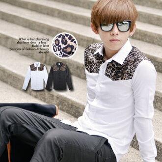 柒零年代【N8748J】深度質感肩部豹紋拼接長袖襯衫(LE-H5490)Chic