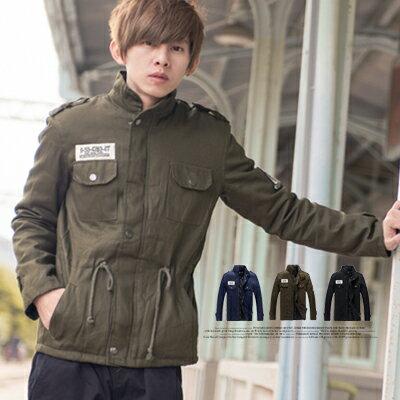 柒零年代【N8851J】軍裝風格徽章保暖內裡鋪棉抽繩夾克外套(JK3426)Impress
