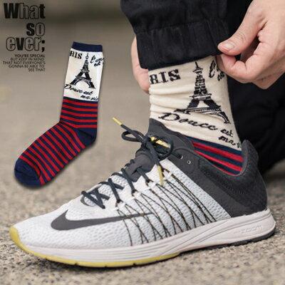 柒零年代~N9016J~巴黎鐵塔Mix配色條紋拼接高筒襪