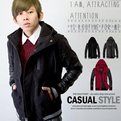 柒零年代【N9037J】厚毛呢拉鍊造型皮革接袖高領連帽外套(SH9112)Deep