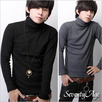 ∥柒零年代∥Comfort~N7245J~日韓 型男單品全羅紋素面棉料彈性高領上衣^(JX