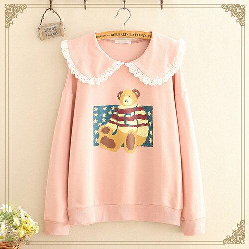 蕾絲邊娃娃領小熊印花薄款衛衣(3色F碼)【OREAD】 0