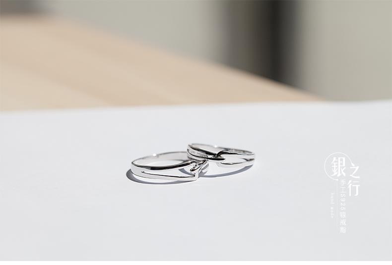 S925銀戒指女情侶對戒食指一對日風時尚創意首飾刻字